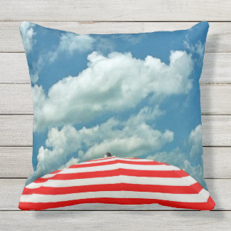 Summer Sky and Beach Umbrella Pillow