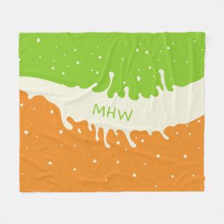 Summer Splash custom monogram fleece blanket