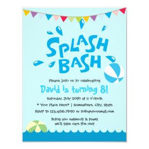 Summer Splash Pool Party Boys Birthday Invitation