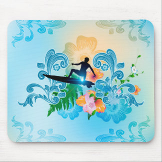 Summer sports, surf boarder with wave mouse pads