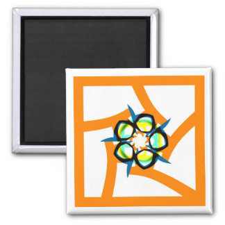 Summer Star - Orange Square Magnet