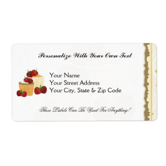 Summer Strawberries And Cupcakes Art Shipping Label