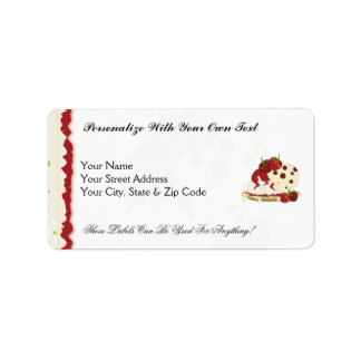Summer Strawberries And Ice Cream Art Label