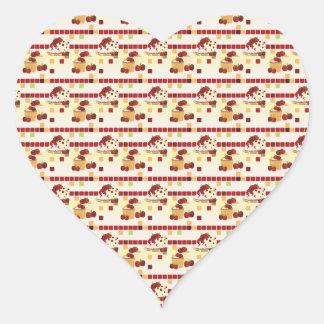 Summer Strawberry Sweet Treats Pattern Heart Sticker