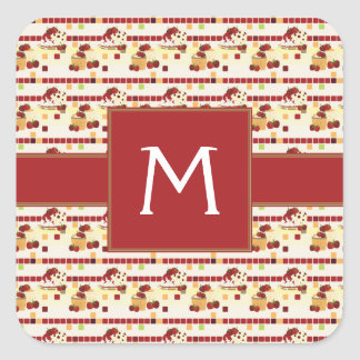 Summer Strawberry Sweet Treats Pattern - Initial Square Sticker