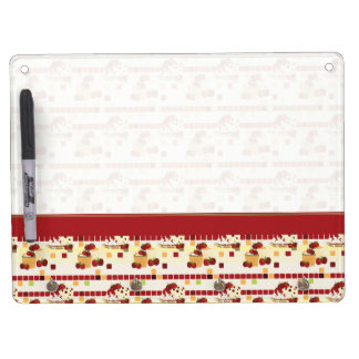 Summer Strawberry Sweet Treats Pattern With Border Dry Erase Board With Key Ring Holder
