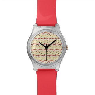 Summer Strawberry Swirl Chevron Pattern Watch