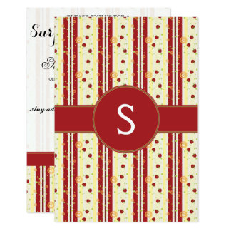 Summer Strawberry Swirl Stripes Pattern - Initial 9 Cm X 13 Cm Invitation Card