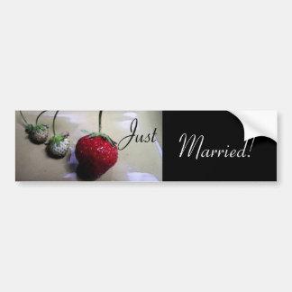 Summer Strawberry Wedding Bumper Sticker