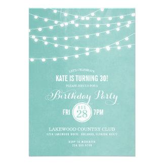 Summer String Lights Birthday Party Invitation
