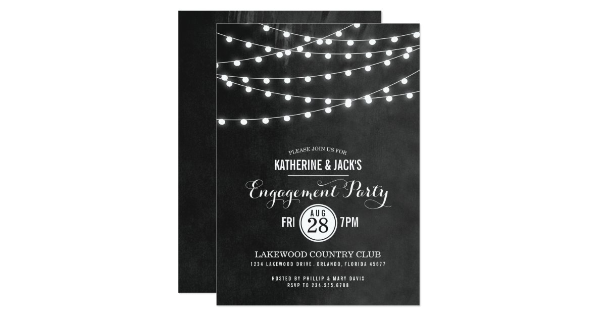 String Lights Party Invite : Summer String Lights Engagement Party Invitation Zazzle