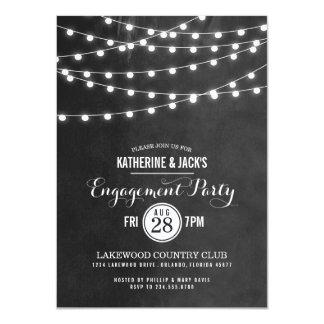 "Summer String Lights Engagement Party Invitation 4.5"" X 6.25"" Invitation Card"
