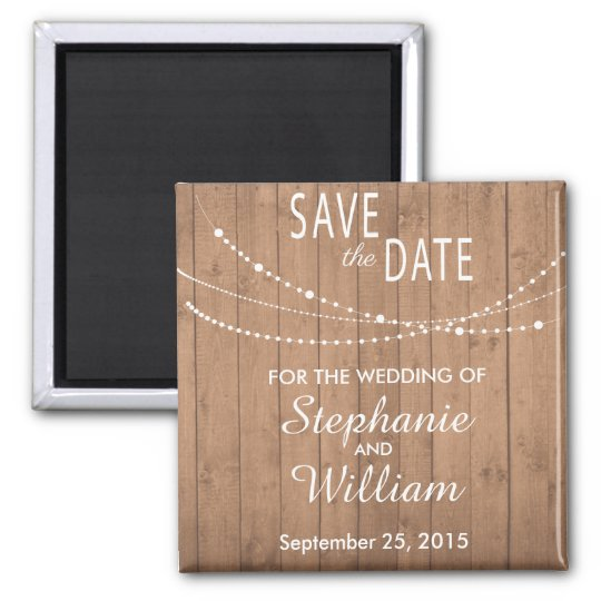 Summer string lights on wood save the date magnet