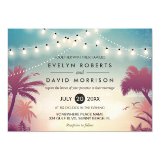 Summer String Lights Palm Tree Outdoor Wedding 13 Cm X 18 Cm Invitation Card