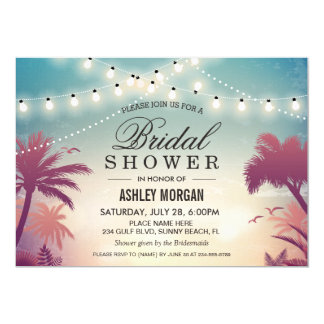 Summer String Lights Sunset Outdoor Bridal Shower 13 Cm X 18 Cm Invitation Card