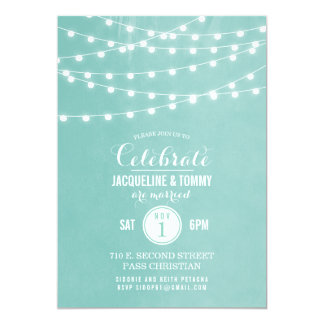 Summer String Lights Wedding Celebration Card