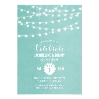 Summer String Lights Wedding Celebration Custom Invites