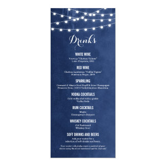 Summer String Lights Wedding Drink Menu Card