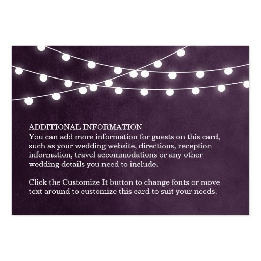 Summer String Lights Wedding Insert Card Business Cards