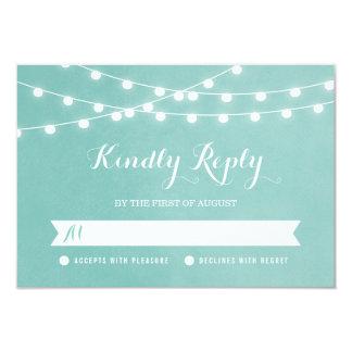 Summer String Lights Wedding RSVP Card 9 Cm X 13 Cm Invitation Card