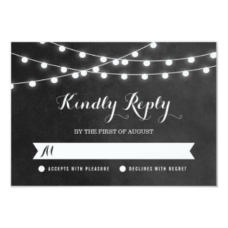 Summer String Lights Wedding RSVP Card 9 Cm X 13 Cm Invitation Card