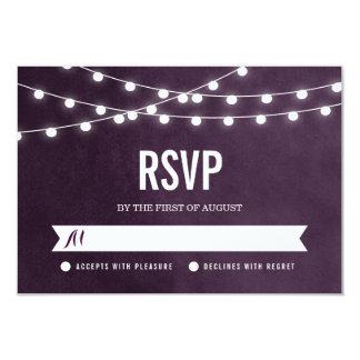 Summer String Lights Wedding RSVP Card Invitation