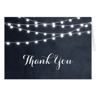 Summer String Lights Wedding Thank You Card