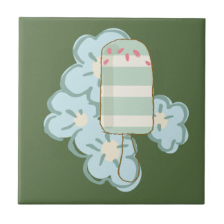Summer Striped Retro Ice Cream Bar on Kale Ceramic Tile