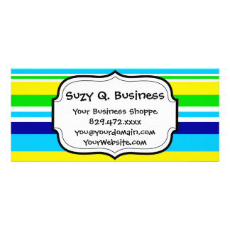 Summer Striped Teal Lime Yellow Blue Business Card Customised Rack Card