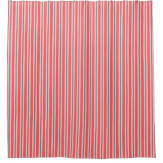 Summer stripes - coral and turquoise shower curtain