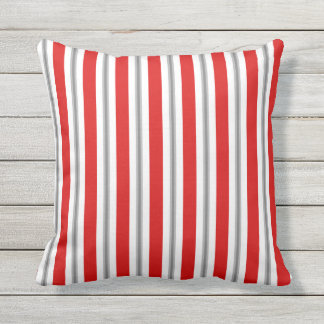 Summer stripes - deep red white and gray / grey outdoor cushion
