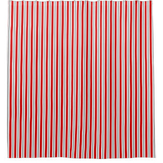 Summer stripes - deep red white and gray / grey shower curtain