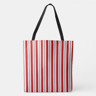 Summer stripes - deep red white and gray / grey tote bag