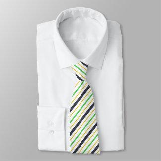 Summer Stripes Navy Blue Green Pattern Tie