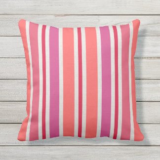 Summer Stripes Pattern | Pink and Red Outdoor Cushion