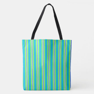 Summer stripes - turquoise and lime green tote bag