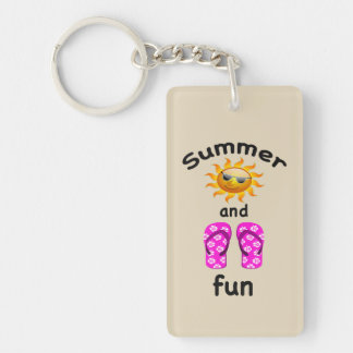 Summer sun and flip flop fun keychain