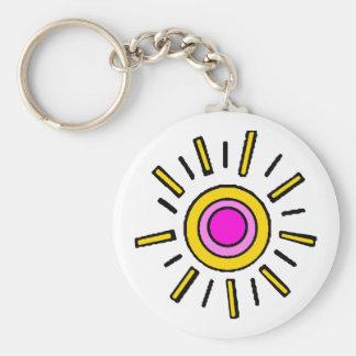 SUMMER SUN BASIC ROUND BUTTON KEY RING