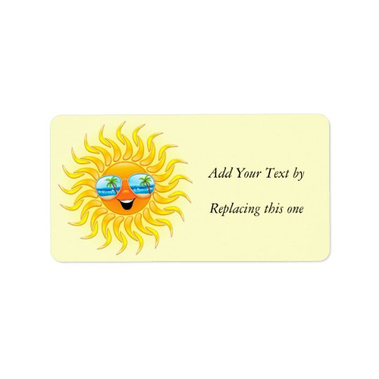 Summer Sun Cartoon with Sunglasses Address Label