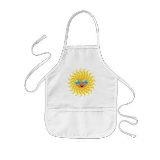 Summer Sun Cartoon with Sunglasses apron