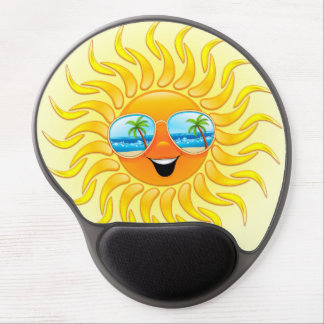 Summer Sun Cartoon with Sunglasses gel mousepad