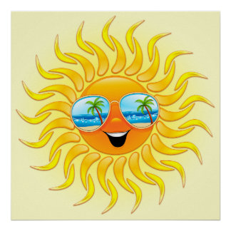 Summer Sun Cartoon with Sunglasses poster