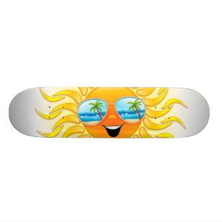 Summer Sun Cartoon with Sunglasses Skateboards