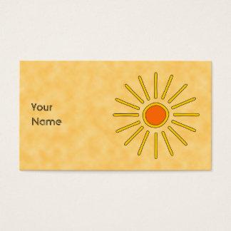 Summer sun. Warm yellow colors. Business Card