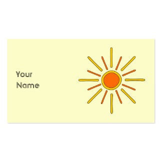 Summer sun. Yellow and orange. Business Card Template