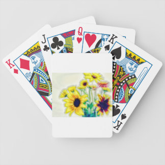 Summer Sunflower and Strawflower Bouquet Bicycle Playing Cards