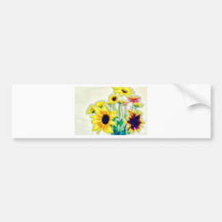 Summer Sunflower and Strawflower Bouquet Bumper Sticker