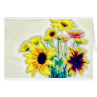 Summer Sunflower and Strawflower Bouquet Card