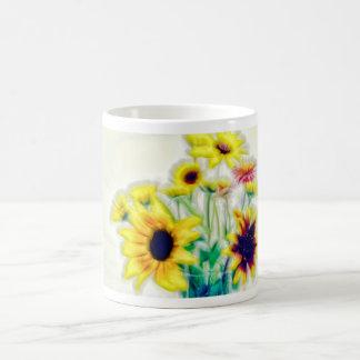 Summer Sunflower and Strawflower Bouquet Coffee Mug