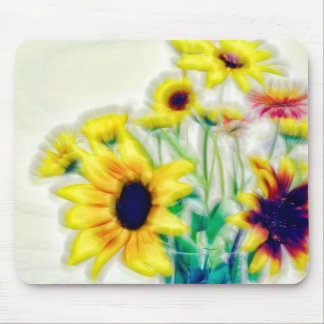 Summer Sunflower and Strawflower Bouquet Mouse Pad